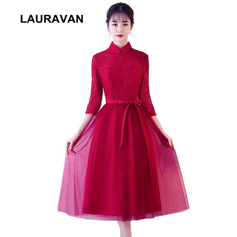 robe de soiree teen formal gradient high neck wine red half sleeved ball gown party girls   bridesmaid     dresses   burgandy   dresses