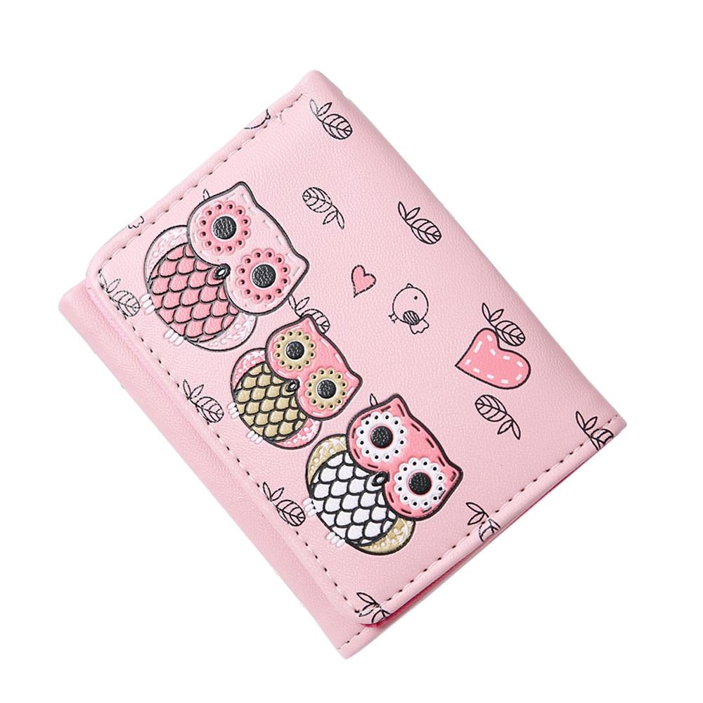 Women Simple Retro Owl Printing Short Wallet Coin Purse Card Holders Handbag Short Wallet #O