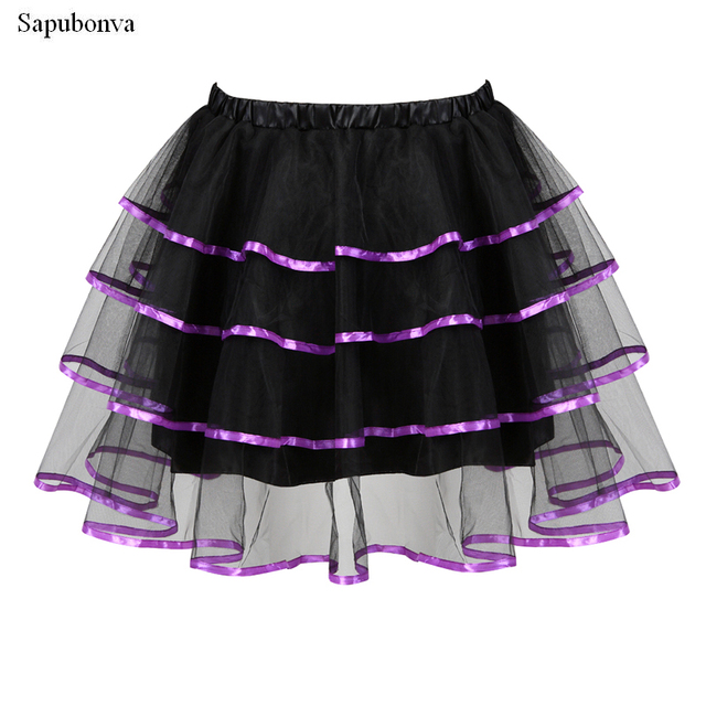 Sapubonva jupes femmes Mini volants couches ruban garniture Organza Punk Tutu jupe Cosplay déguisement Lolita Corset grande taille rouge