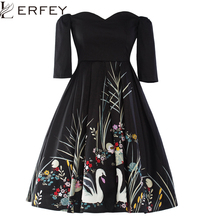 Lashชุดอะบิลลีหญิงที่สง่างามจีบผู้หญิงชุด LERFEYวินเทจชุดฤดูใบไม้ผลิสีดำปิดไหล่พิมพ์พรรคคอS