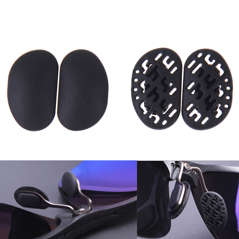 2Pairs Black Silicone Sunglasses Soft Nose Pads Hollow Out Airbag Bayonet Breathable Comfortable Glasses Anti-Slip 2 Styles