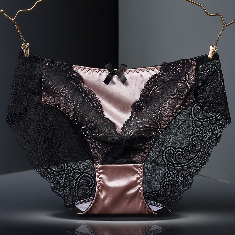 Sexy ladies   panties   lace transparent large size cotton bottom hollow female triangle underwear breathable quality underwear