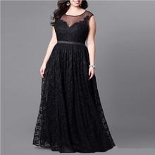 Плюс Размеры женщина Винтаж черное платье без рукавов длинное вечернее платье осень 2017 г. большой Размеры выдалбливают Макси Кружево сетки Vestidos элегантный