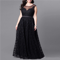 Plus Size Woman Vintage Dress Black Sleeveless Long Evening Gown 2017 Autumn Big Size Hollow Out