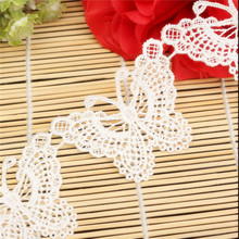Lace Sewing Dress Trim Craft Crochet Applique Embroidered Butterfly Polyester White Delicate