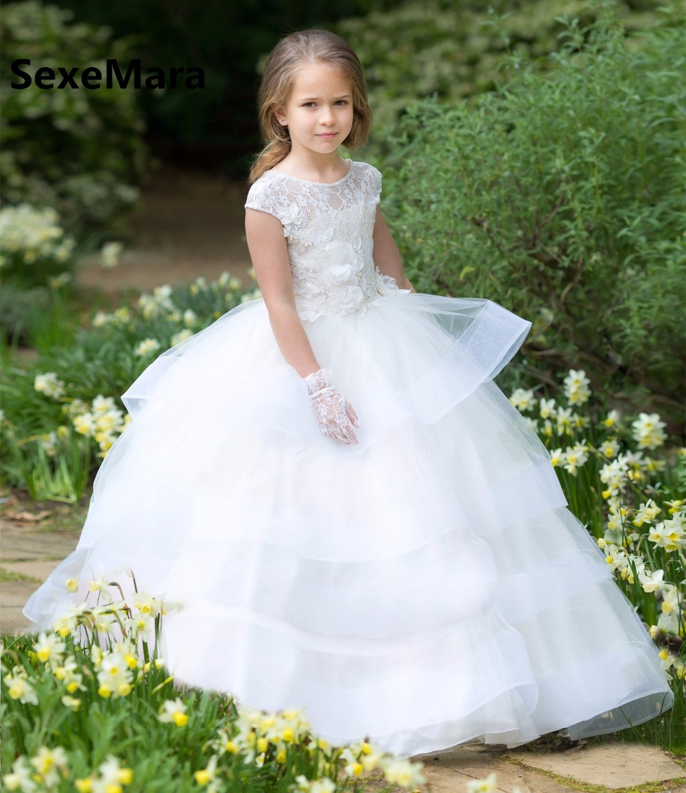 White Ivory Lace Flower Girls Dresses for Wedding O Neck Puffy Organza Layered Kids Birthday Party Gown First Communion Dress tie neck frill trim layered hem dress