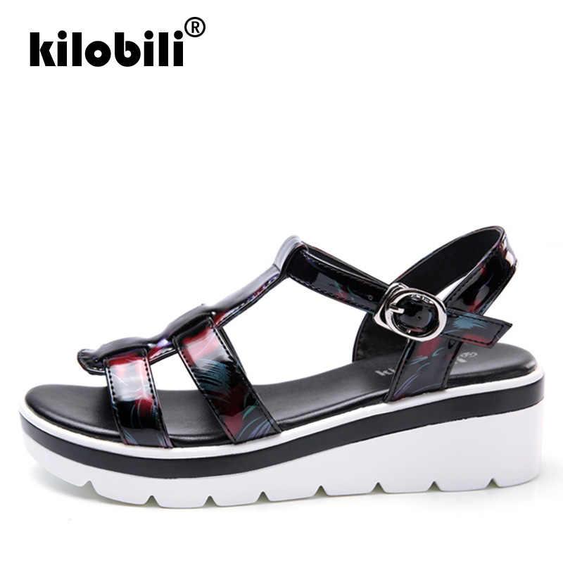 970f630f2c733 ... kilobili 2019 Summer Women Sandals Black Flat Platform Sandals Women  Wedge Beach Flip Flops Ladies Flat ...