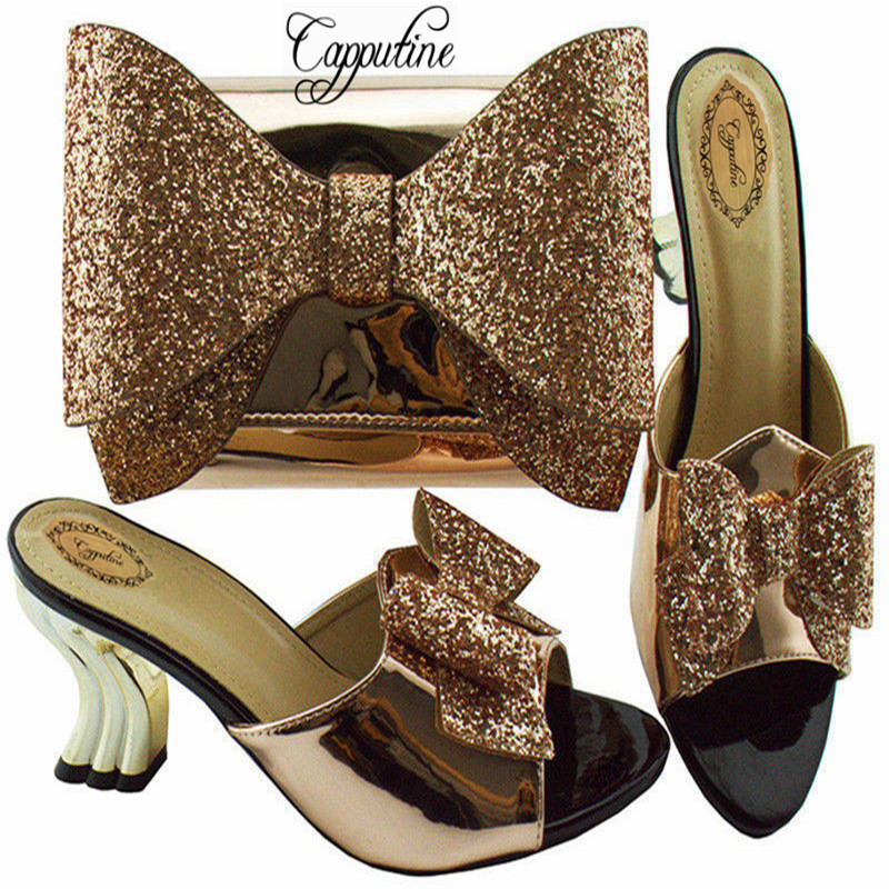 Capputine Nigerian Fashion Rhinestone Shoes And Bag Set African Style High Heels Shoes And Purse For Party Size 38-43 YM001 capputine summer style africa low heels woman shoes and bag fashion slipper shoes and purse set for party size 38 42 tx 8210