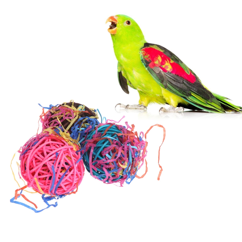 Pet Products Home & Garden Cage Birds Parakeet Chew Bite Accessories Parrot Toys Rattan Ball Swing Hanging High Resilience