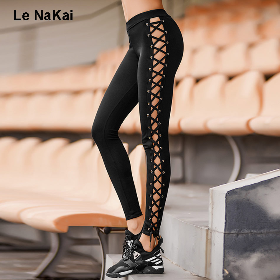 Le NaKai Crisscross Bandge Yoga Leggings For Women Fitness Side Cut out Yoga Pants Workout Gym Tights Active Sports Trousers 2017 women s yoga pants workout capri leggings running tights side pockets functional pattern patchwork sports leggings jnc2315