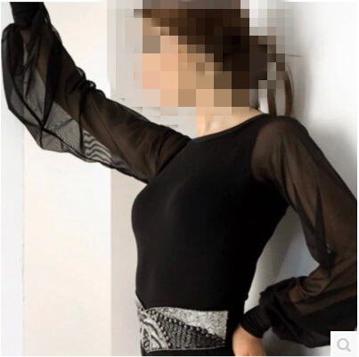 Latin Dance Costume Sexy Half Sleeves Lace Body Latin Dance Top For Women Latin Dance Competition Jacket