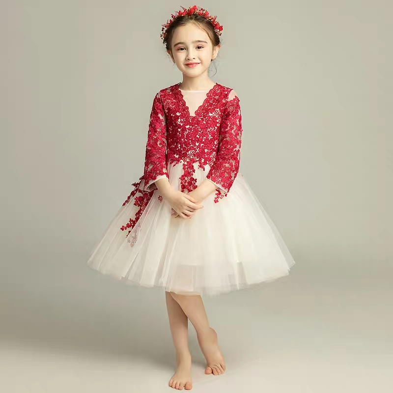2018 Autumn Winter New Children Girls host evening Birthday Party dress Kids Baby piano costumes wedding party fluffy Prom Dress high quality 2018 girls dress children princess dress fluffy yarn girls show caterpillar evening dress birthday host piano