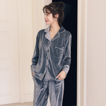 golden velvet pajamas for women in autumn and winter two-piece suit thin spring Korean version long-sleeved