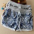 De alta Calidad! Marca de moda Las Niñas PrintingCotton Shorts, 2015 Feminino Casual Playa Pantalones Cortos de Verano Para Las Mujeres 6 Colores