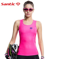 Santic Waistcoat Reflective Cycling Vest Quick Dry Bike Women Vest Sleeveless Sports Jersey Running Vest