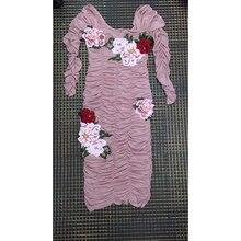 HIGH STREET New Stylish 2018 Designer Runway Dress Women's Stylish Gauze Embroidery Fold Sheath Dress