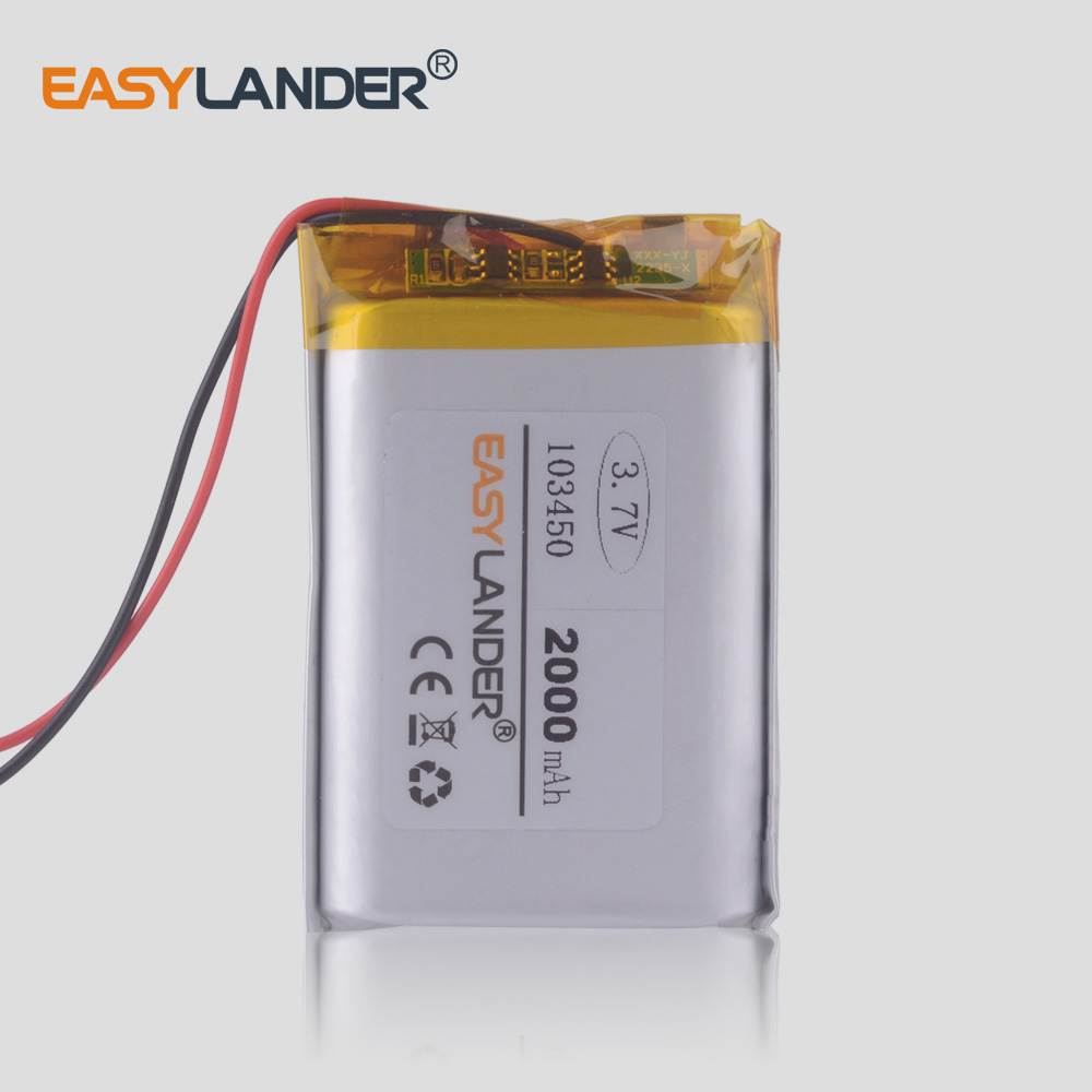CE ROHS <font><b>3.7V</b></font> <font><b>2000mAh</b></font> <font><b>battery</b></font> Lithium Polymer <font><b>LiPo</b></font> Rechargeable <font><b>Batteries</b></font> 103450 For dualshock 4 Bluetooth speaker image
