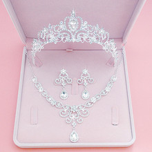 лучшая цена Baroque Luxury Handmade Rhinestone Bridal Crown Tiaras Silver Crystal Diadem Tiaras for Bride Headbands Wedding Hair Accessories