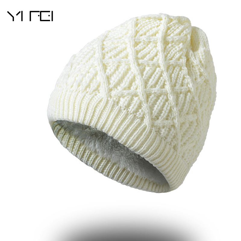 36a2d965d75 Detail Feedback Questions about YIFEI Women Winter Warm Wool Knit Hats  Autumn Fashion Beanies Men Warm Thick Skullies Casual Plus Velours Knitted  Caps on ...