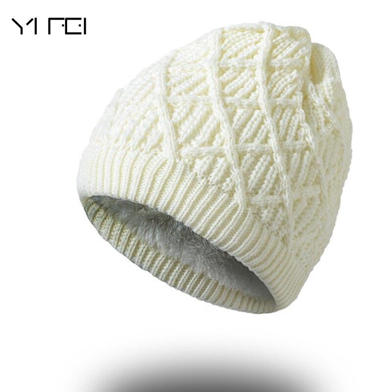 YIFEI Women Winter Warm Wool Knit Hats Autumn Fashion Beanies Men Warm  Thick Skullies Casual Plus bc83ef40dbf7