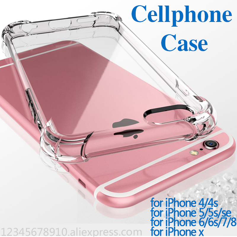 TPU case for iphone 6 case for iphone 6s 6 se 5s 7 8 x plus cellphone case Super anti-fall shell Transparent silica gel Strong
