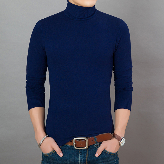 18e301e95365 2019 New Fashion Brand Sweaters Mens Pullover Turtleneck Slim Fit Jumpers  Knitred Warm Autumn Korean Style Casual Men Clothes