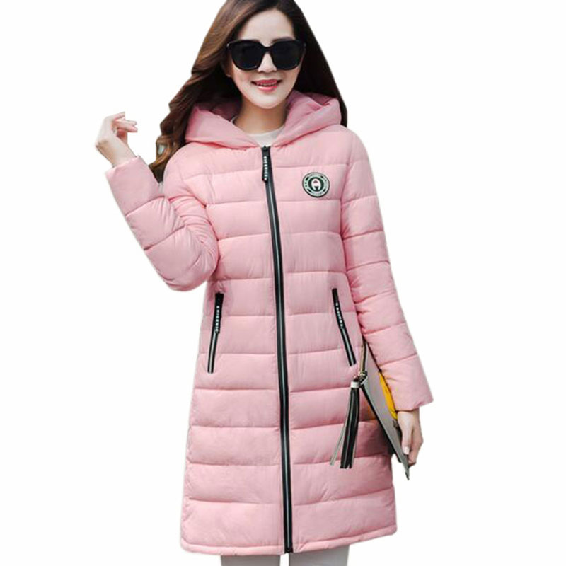 Women Autumn Winter Parkas long Big Size Candy Color Slim Cotton jacket Women Thick Hooded coat Cotton-Padded Jackets QH0477 inc international concepts women s long sleeves cotton blouse 4 candy pink