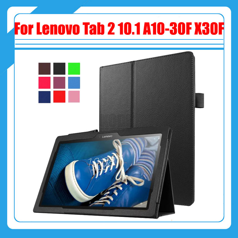 3 in 1 , Pu Leather Stand Tablet Cover Case For Lenovo Tab 2 10.1 A10-30 A10-30F X30F + Screen Protector + Stylus