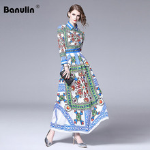Banulin New Arrival 2019 Spring Womens Turn Down Collar Long Sleeve Floral Printed Striped Pleated Elegant Maxi Runway Dresses