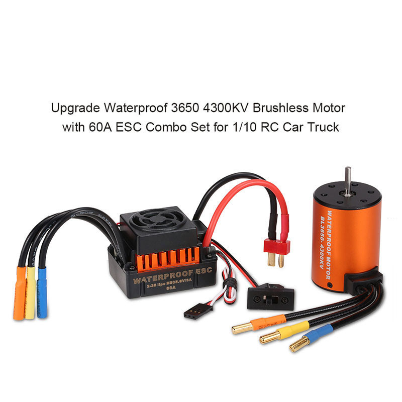 GoolRC Waterproof 3650 4300KV Motor w/ 60A ESC Combo Set for 1/10 RC Car Truck GoolRC 3650 4300KV Motor w/ 60A ESC Combo surpass hobby upgrade waterproof 3650 3900kv rc brushless motor with 60a esc combo set for 1 10 rc car truck motor kit