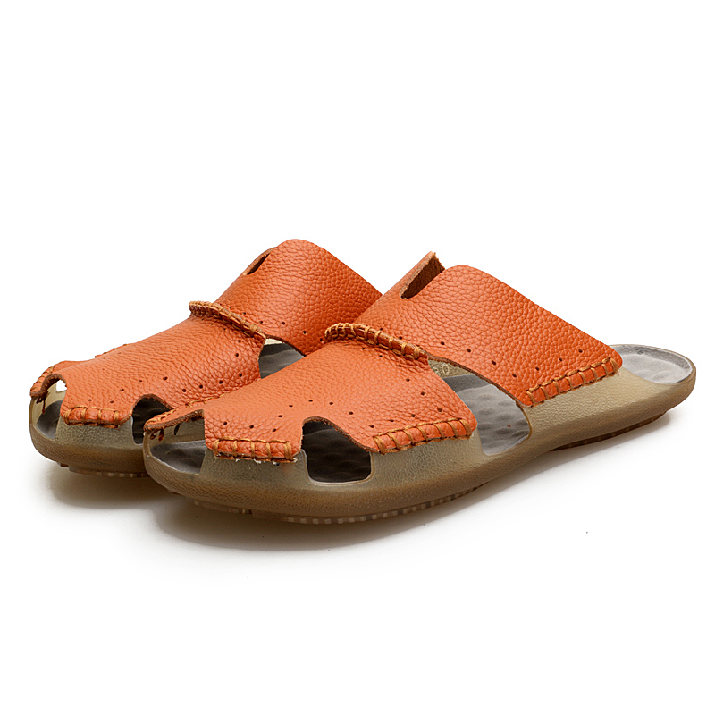 Fashion slippers men Designer terlik pantuflas mens shoes Male white slipper crocs shoes solid summer genuine leather slippers