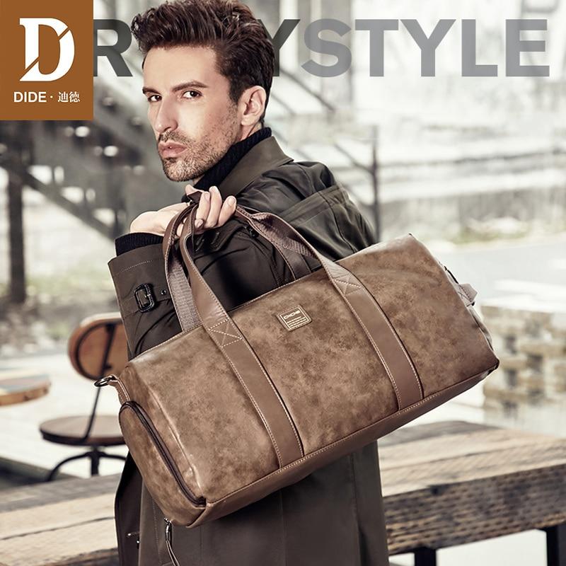 DIDE Top Handle Tote Men Travel Duffel Bags Male Waterproof Leather Large Capacity Messenger Shoulder Bags