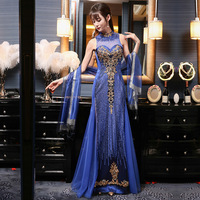 Embroidery Chinese Traditional Eveing Dress 2017 New Royal Blue Sexy Cheongsam Qipao Long Vestido Oriental Party Dresses