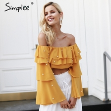 Simplee Off shoulder pearl sexy blouse shirt Ruffle long sleeve crop top women blouses 2018 Summer chiffon blouse female