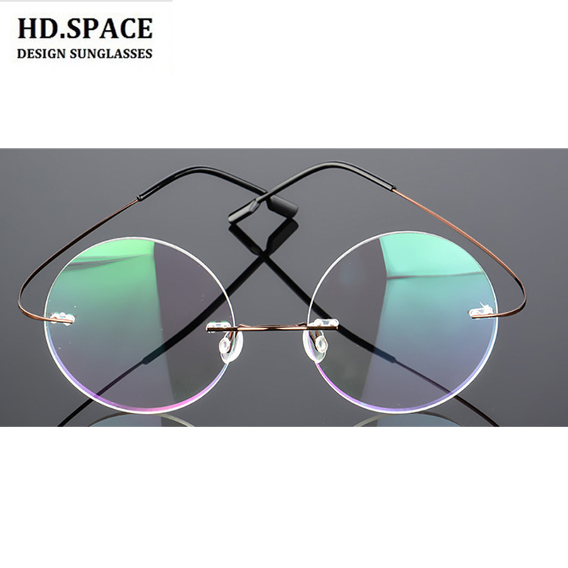 be93d0884d959 Detail Feedback Questions about Fashion women Titanium Alloy round Rimless  myopia glasses Ultra light Nearsighted Glasses prescription glasses 1.00 to  6.00 ...