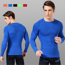 New Fitness Men Long Sleeve T-shirt Quick dry Thermal Muscle Clothing Breathable Bodybuilding Compression Tights Slim Fit Tops