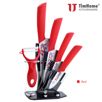Beautiful Flower Coating Ceramic Knife Set 3456 Inch Chef Knives Set with Acrylic Knife Stand Holder