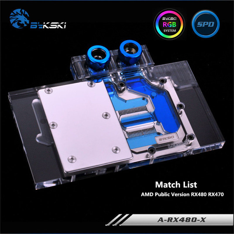 Bykski Full Coverage GPU Water Block For AMD Public Version RX480 RX470 Graphics Card A-RX480-X flying elephant nvidia1080 nvidia1070 public version graphics card of the water cooling radiator full coverage waterblock