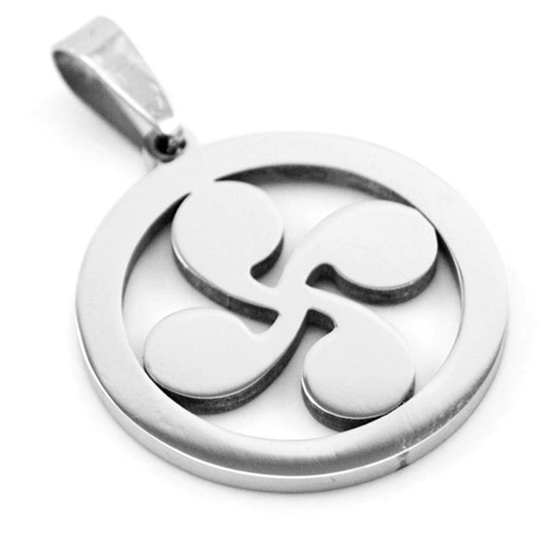 50pcs DIY jewelry round Lauburu four heads Basque cross Pendant stainless steel Necklace charms wholesale double