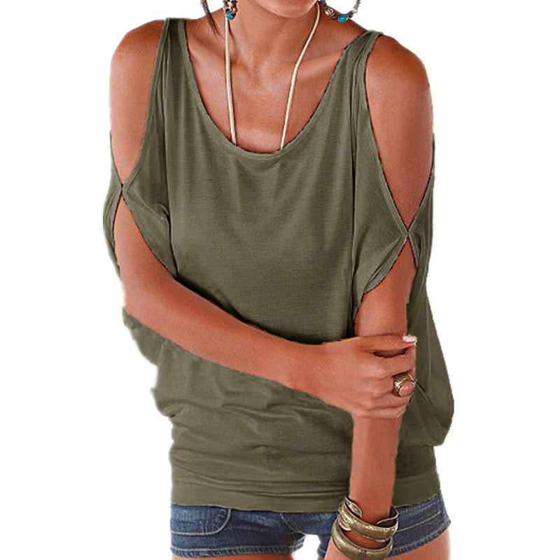 Female T Shirts For Women Top Crochet Tank Batwing Sleeve Top T-Shirt Off Shoulder O-neck Casual Womens T-shirt Plus Size 2017