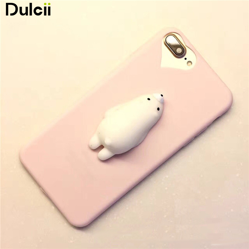 Dulcii Phone Case For iPhone 6s 6 Plus 7 7 plus Squishy Case Polar Bear Hard Plastic Phone Cover For iPhone 6s 6 Plus 7 7 plus