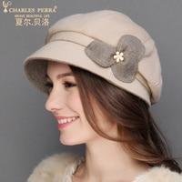 تشارلز perra ماركة النساء القبعات خريف شتاء جديد الدافئة موضة القبعات الصوف قبعة سيدة قبعة عارضة أنيقة 2259