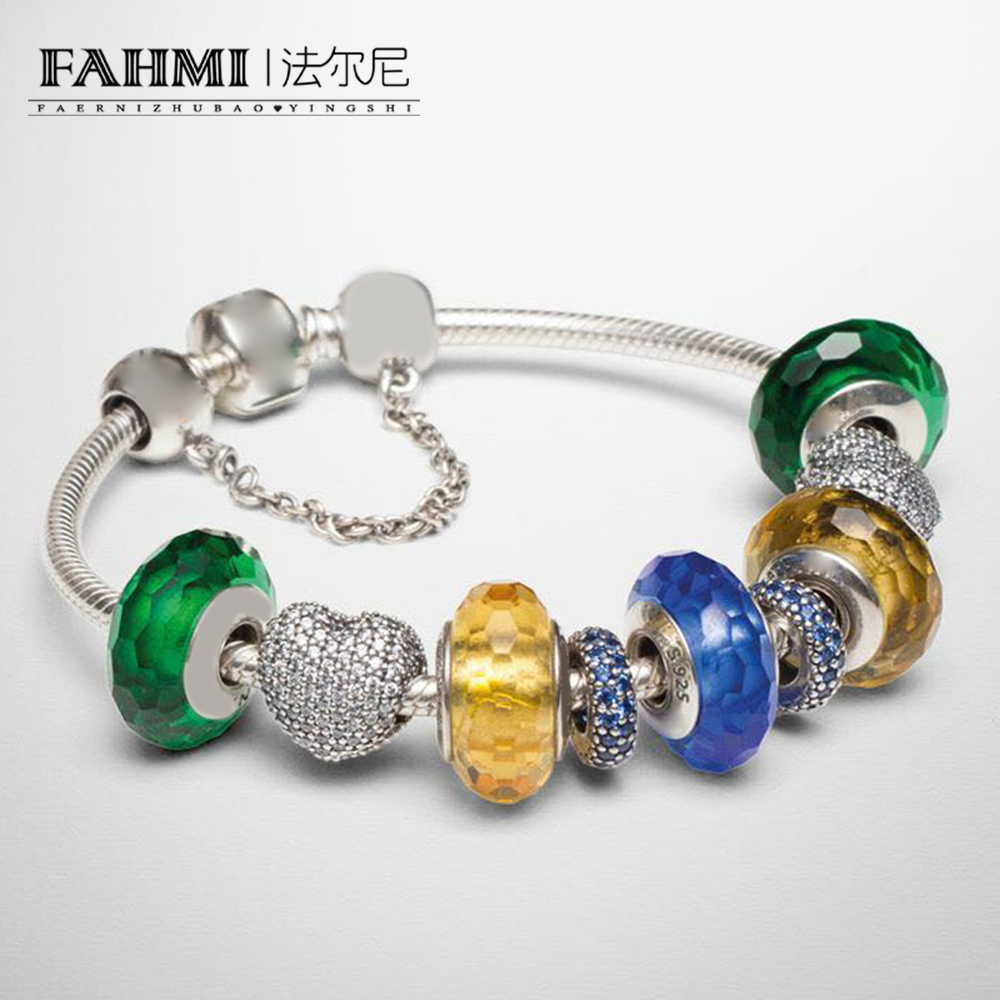 FAHMI 100% 925 Sterling Silver 1:1 Colorful Fascinating Charm Murano Glass Heart Shaped Safety Bracelet Set Free ShippingFAHMI 100% 925 Sterling Silver 1:1 Colorful Fascinating Charm Murano Glass Heart Shaped Safety Bracelet Set Free Shipping