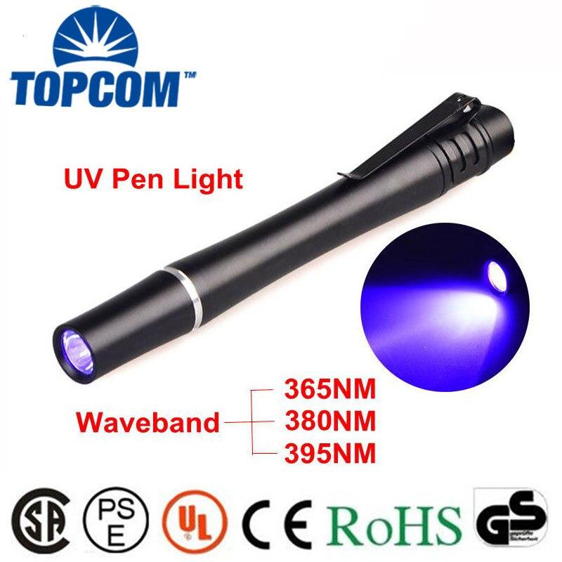 цена на Aluminum Money Inspection UV LED ultra violet Torch Light mini Pen flashlight 395nM 380nM 365nM uv lighting Currency detector