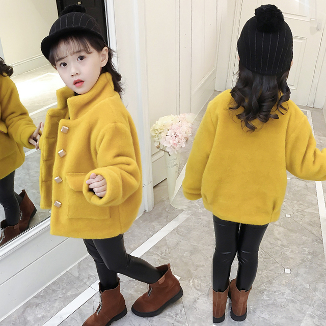 ff981e78ed9d High Quality Girls Fashion Woolen Jacket 2018 Fall   Winter New Hot ...
