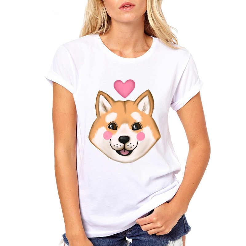 2019 Tee Shirt Cute Chubby Cheeks T-shirt Female Tops Tee for Girls Dog Lover Cute Shiba Inu Printed T Shirt Women Funny Top