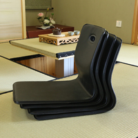 (4pcs/lot) Tatami Zaisu Legless Chair Faux Leather Black Color Living Room Furniture Japanese Style Floor Seating Asian Chair