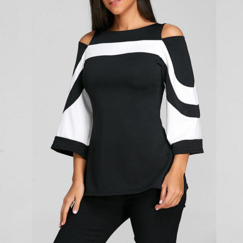 Women Patchwork Ladies Loose Casual Long Sleeve Shirt Soft Blouse Tops Shirt Plus Size 1