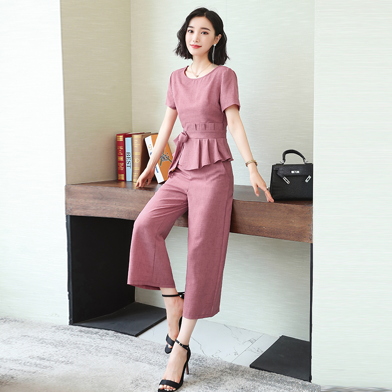 L-5xl Summer Elegant Two Piece Sets Outfits Women Plus Size Lace-up Bow Tunics Tops And Cropped Pants Suits Office Korean Sets 44