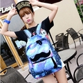 Galaxy Backpack 2015 New Nylon Space Print Backpack Mustache Pretty Backpacks For Girls High School Bag Space Mochila Galaxia